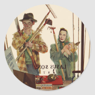 Vintage Husband and Wife with Gardening Tools Classic Round Sticker