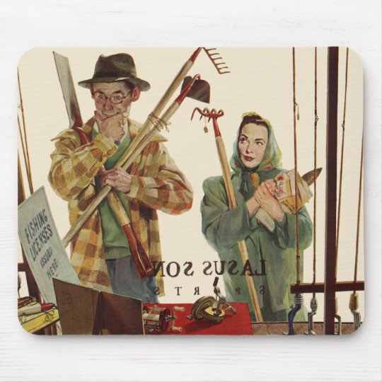 Vintage Husband and Wife with Gardening Tools Mouse Pad