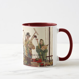Vintage Husband and Wife with Gardening Tools Mug