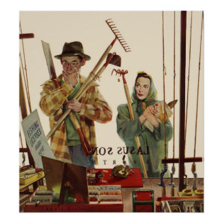 Vintage Husband and Wife with Gardening Tools Poster