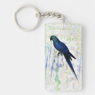 Vintage Hyacinth Macaw on Rainbow Grunge Backgrou Keychain
