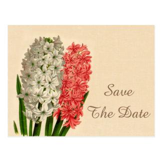 Vintage Hyacinths 100th Birthday Save The Date Postcard