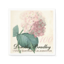 Vintage Hydrangea 100th Birthday Paper Napkins