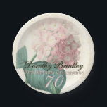 "Vintage Hydrangea 70th Birthday Party Paper Plates<br><div class=""desc"">Customizable Birthday Celebration Paper Plates with Vintage Botanical Watercolors by Pierre-Joseph Redout&#233;. You can easily change text color, font, size and position by clicking the customize button. &quot;Pierre-Joseph Redout&#233; (10 July 1759 in Saint-Hubert, Belgium – 19 June 1840 in Paris), was a Belgian painter and botanist, known for his watercolours...</div>"