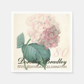 Vintage Hydrangea 80th Birthday Party Paper Napkin
