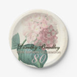Vintage Hydrangea 80th Birthday Party Paper Plates 7 Inch Paper Plate