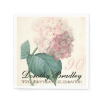 Vintage Hydrangea 90th Birthday Party Paper Napkin