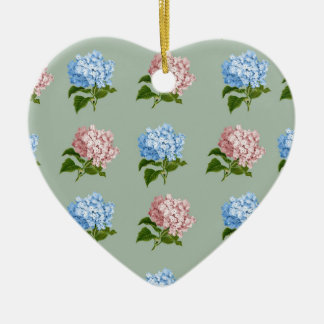 Vintage Hydrangea Floral Design Ceramic Ornament