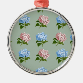 Vintage Hydrangea Floral Design Metal Ornament
