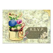 vintage hydrangea roses mason jar rsvp  3.5 x 5 card