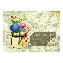 vintage hydrangea roses mason jar save the dates card
