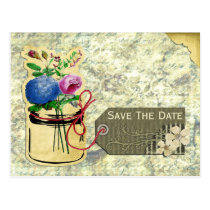 vintage hydrangea roses mason jar save the dates postcard