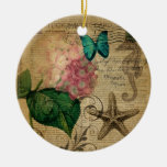 vintage hydrangea seashell bontanical art fashion Double-Sided ceramic round christmas ornament