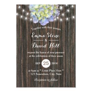 Vintage Hydrangea String Lights Barn Wood Wedding Card