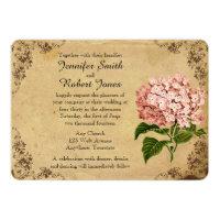 Vintage Hydrangea Wedding Invitation