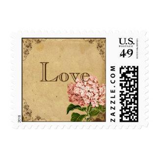 Vintage Hydrangea Wedding Postage Stamp