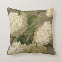 Vintage Hydrangea, White Green and Grey Floral Throw Pillow