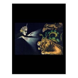Vintage Hypnotism...man and a lion Post Cards