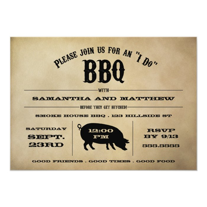 "Vintage ""I Do"" BBQ Rehearsal Dinner Invite"