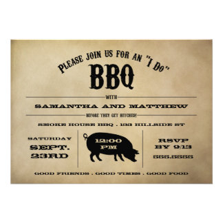 Vintage I Do BBQ Rehearsal Dinner Invite