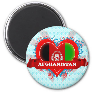 Vintage I Love Afghanistan 2 Inch Round Magnet