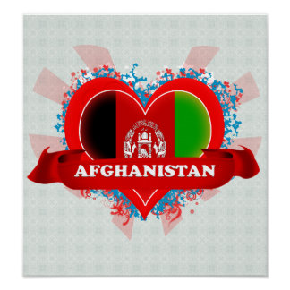 Vintage I Love Afghanistan Print