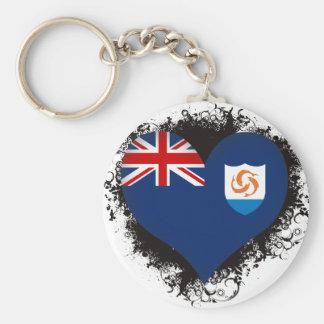 Vintage I Love Anguilla Basic Round Button Keychain