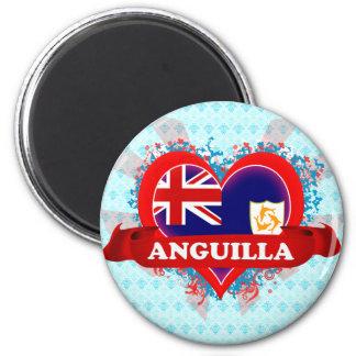 Vintage I Love Anguilla 2 Inch Round Magnet