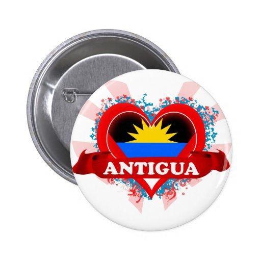 Vintage I Love Antigua 2 Inch Round Button