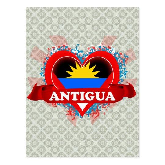 Vintage I Love Antigua Postcard