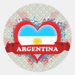 Vintage I Love Argentina Round Sticker