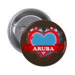 Vintage I Love Aruba Pinback Buttons
