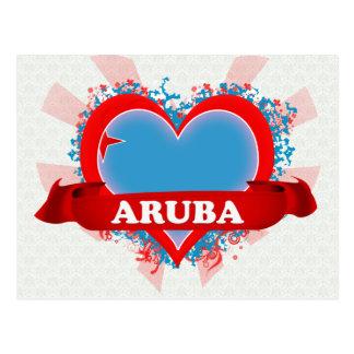 Vintage I Love Aruba Postcard