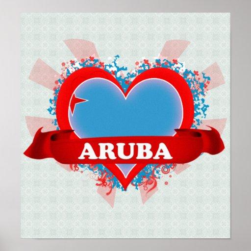 Vintage I Love Aruba Print