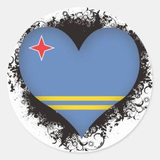 Vintage I Love Aruba Round Sticker