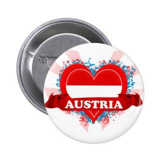 Vintage I Love Austria Pinback Buttons