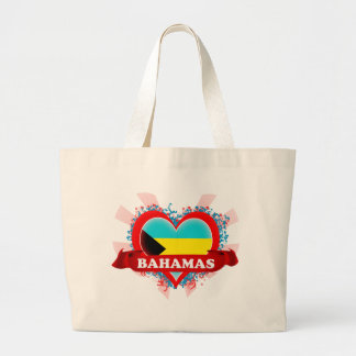 Vintage I Love Bahamas Large Tote Bag