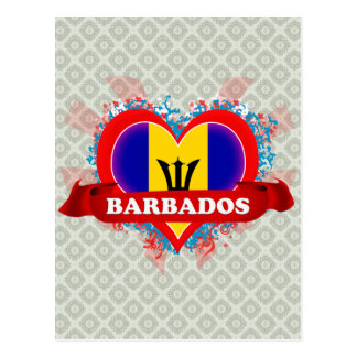 Vintage I Love Barbados Postcard