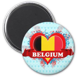 Vintage I Love Belgium 2 Inch Round Magnet