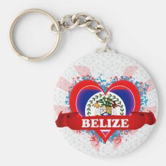 Vintage I Love Belize Basic Round Button Keychain