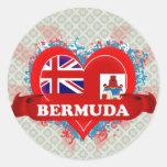 Vintage I Love Bermuda Round Stickers