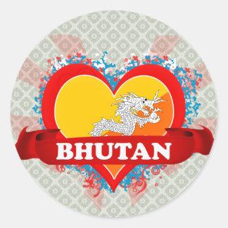Vintage I Love Bhutan Sticker