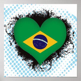 Vintage I Love Brazil Poster