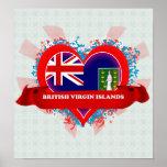 Vintage I Love British Virgin Islands Poster