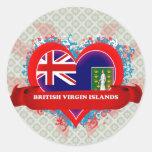 Vintage I Love British Virgin Islands Round Sticker