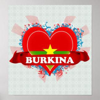 Vintage I Love Burkina Poster