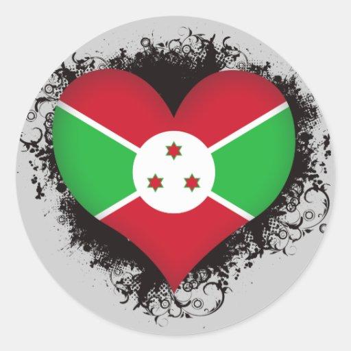 Vintage I Love Burundi Round Sticker