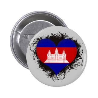 Vintage I Love Cambodia 2 Inch Round Button
