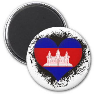 Vintage I Love Cambodia 2 Inch Round Magnet