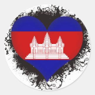 Vintage I Love Cambodia Classic Round Sticker